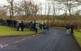Viewing Yellow-rumped Warbler at High Shincliffe, 9th February 2014